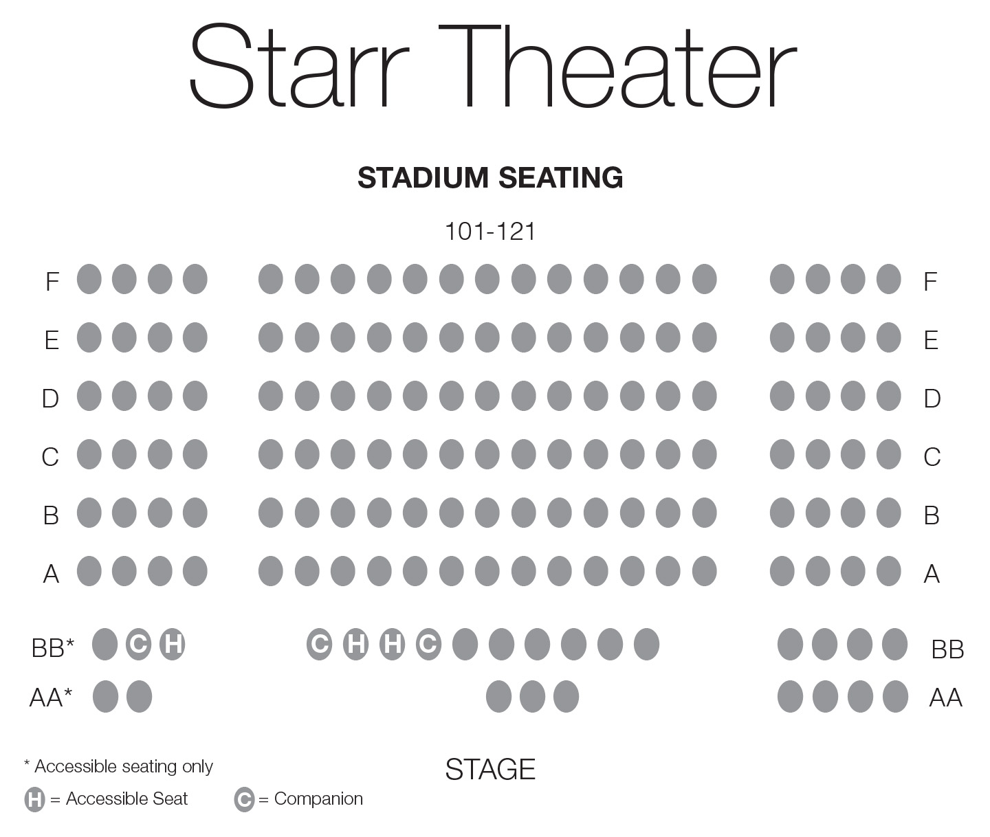 Starr Theater seating chart for relaxed performances